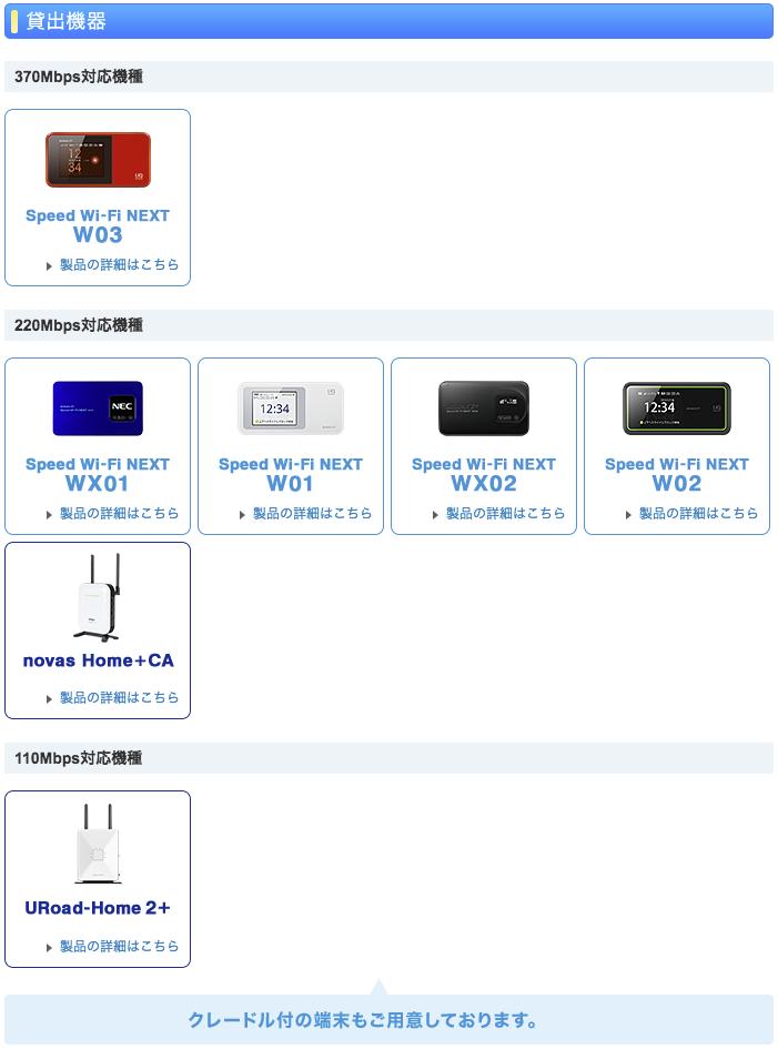 WiMAX お試し レンタル 貸出機器 20161201
