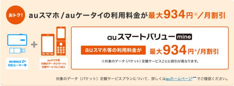 WiMAX ギガ放題 auスマートバリューmine