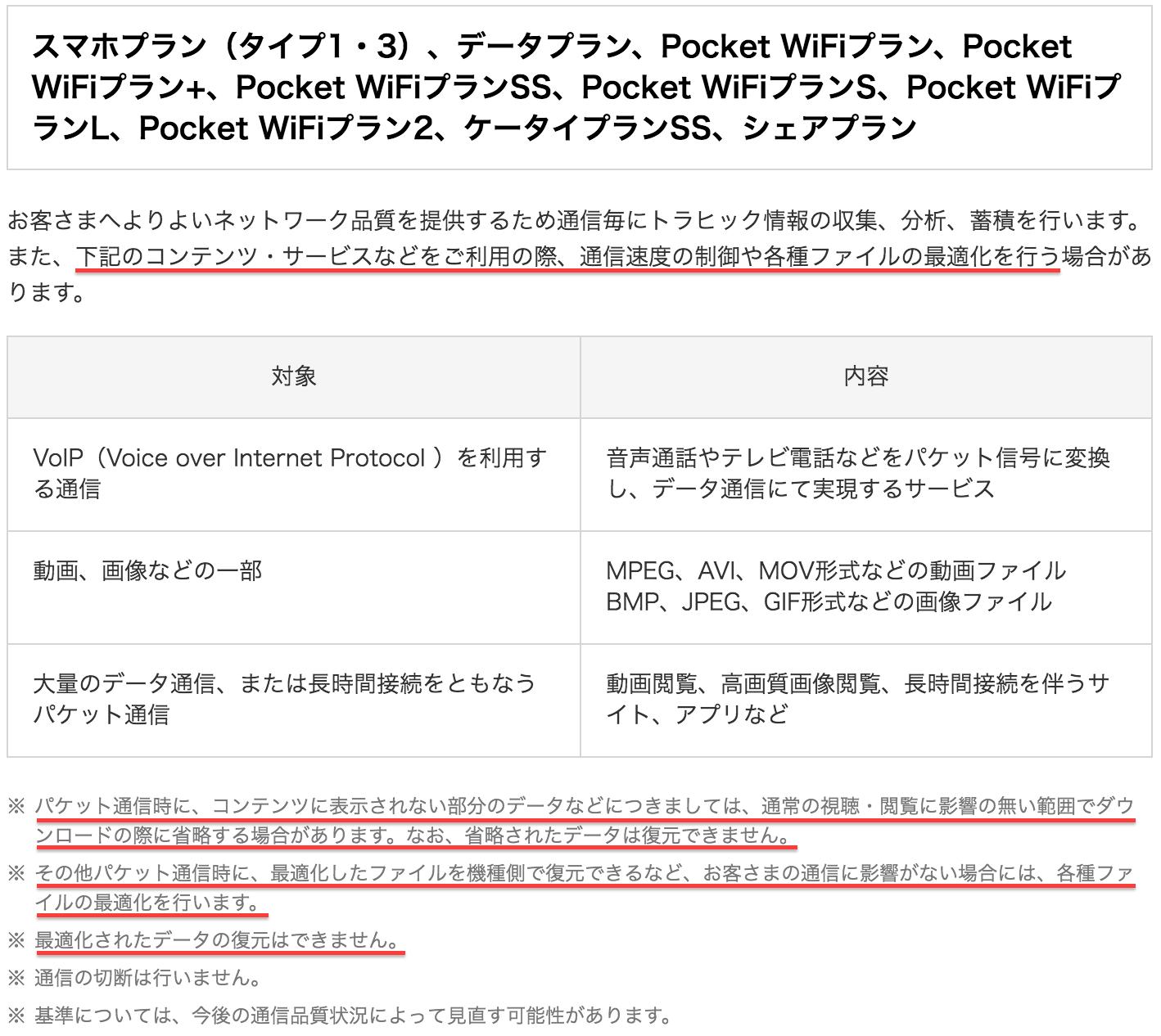 ワイモバイル ポケットWiFi データ規制
