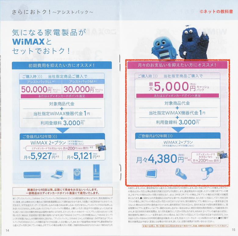エディオンWiMAX料金プラン2