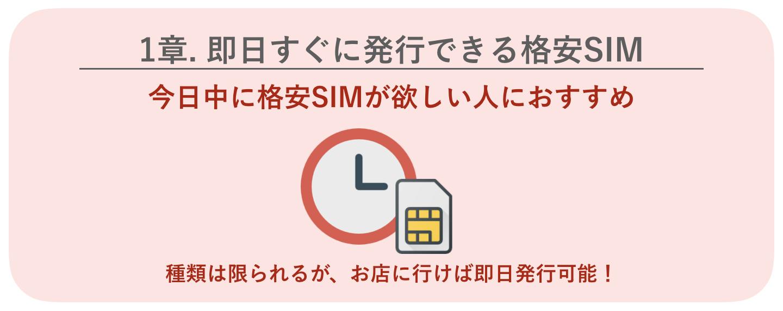 即日発行できる格安SIM