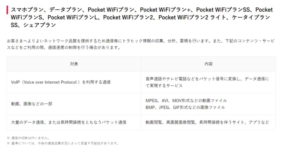 Y!mobile 通信速度制御一覧