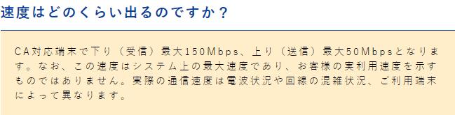 よくばりWi-Fi 通信速度 記載なし