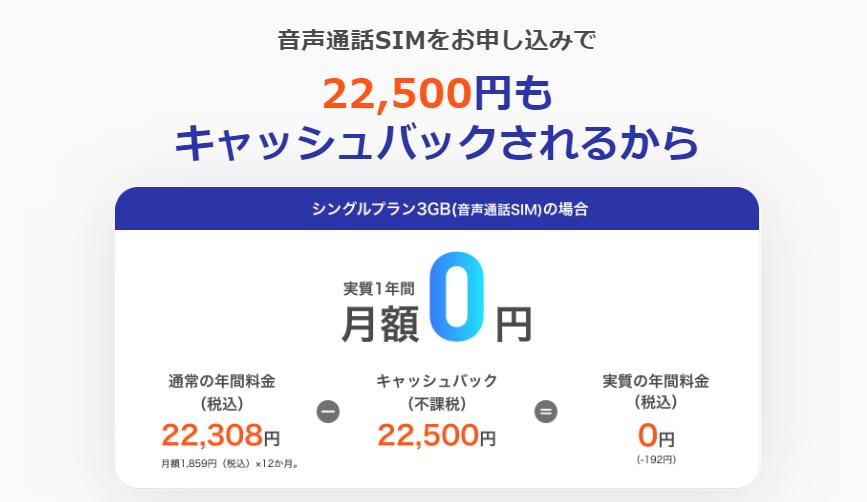 y.u mobile 音声通話SIM申し込みでキャッシュバック