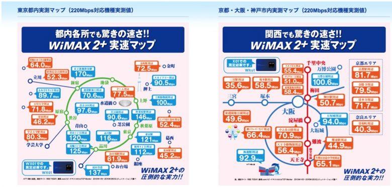 都内と関西のWiMAXの速度マップ