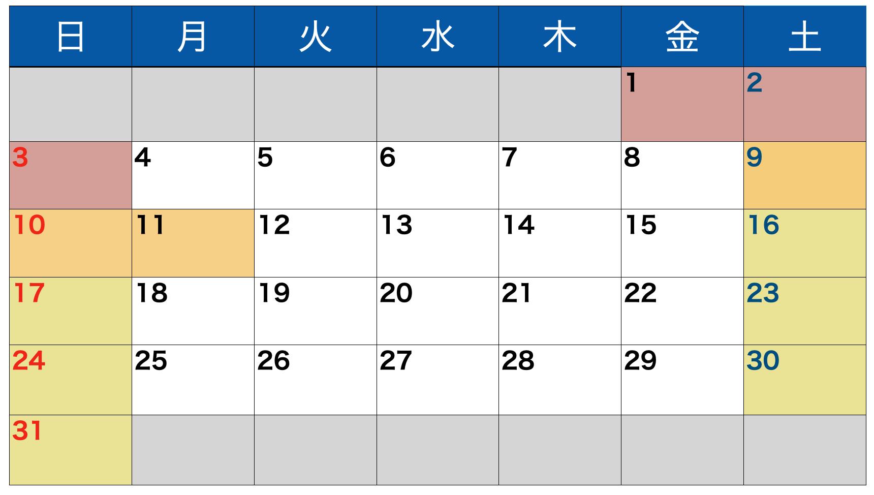 1月の繁忙期カレンダー
