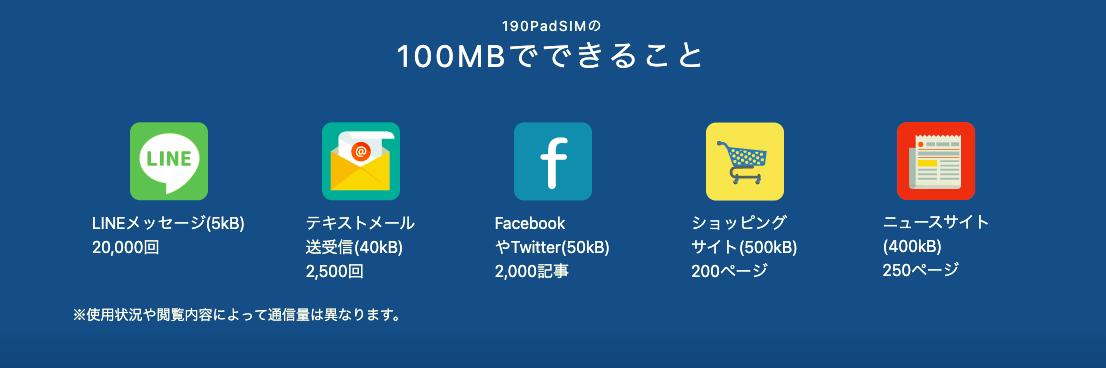 b-mobile100MBでできること