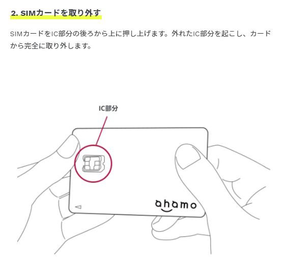 ahamoのSIMカード挿入方法