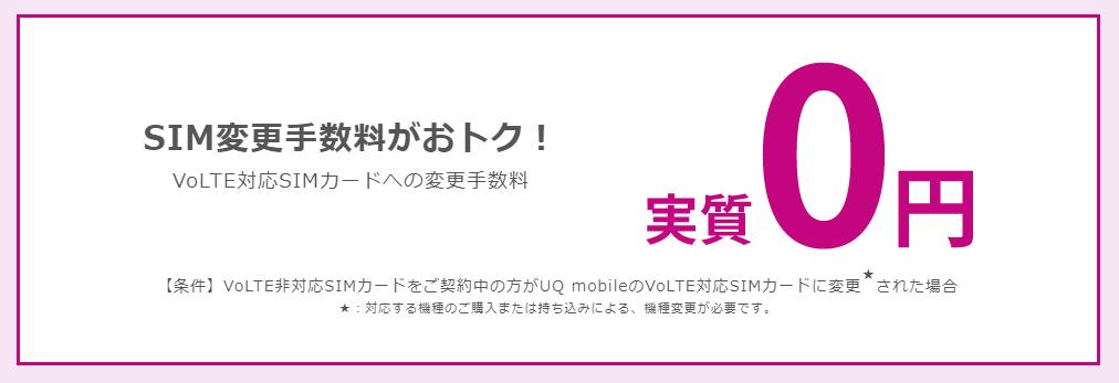 UQモバイル SIM変更手数料0円キャンペーン