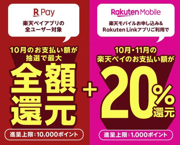 楽天Pay支払い額が20%還元キャンペーン