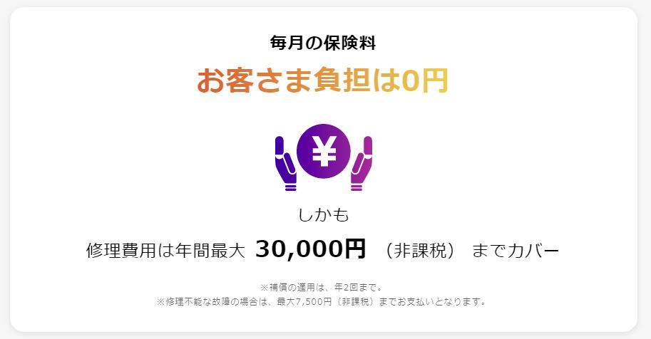 スマホ修理費用保険の負担が0円