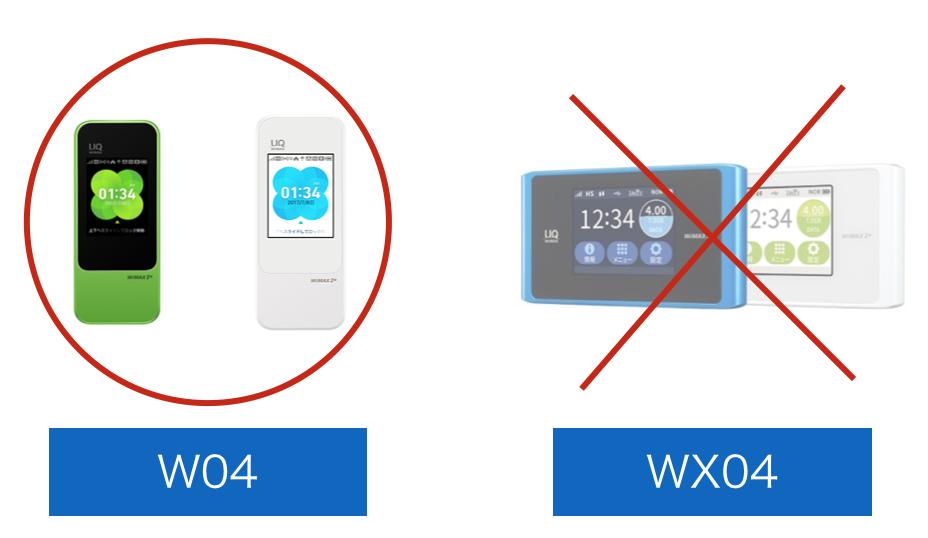 W04とWX04との比較